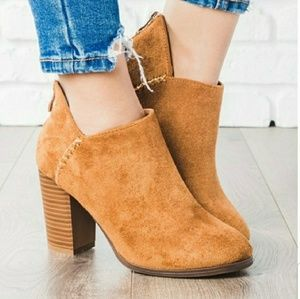 Shoes - Tan vegan suede ankle boots